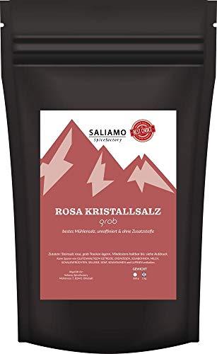 Saliamo Rosa Kristallsalz (auch bekannt als Himalaya Salz) Steinsalz grob 2-4mm im 1 kg wieder verschließbaren Beutel - Salz aus Salt Range Pakistan