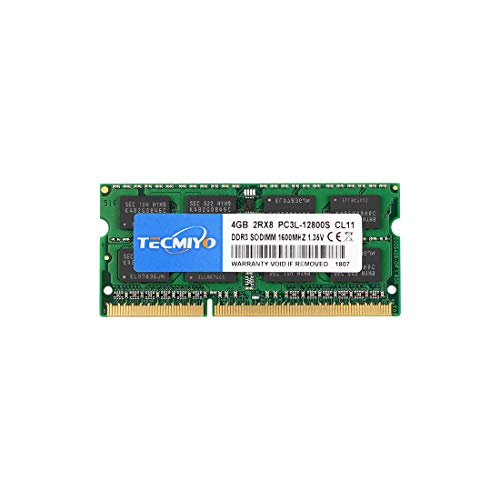 TECMIYO 2RX8 4GB PC3L-12800S DDR3/DDR3L 1600MHZ Sodimm DDR3L-1600 PC3-12800 CL11 1.35V/1.5V 204Pin Non-ECC Unbuffered Laptop Memory RAM Module for Mac Intel and AMD System