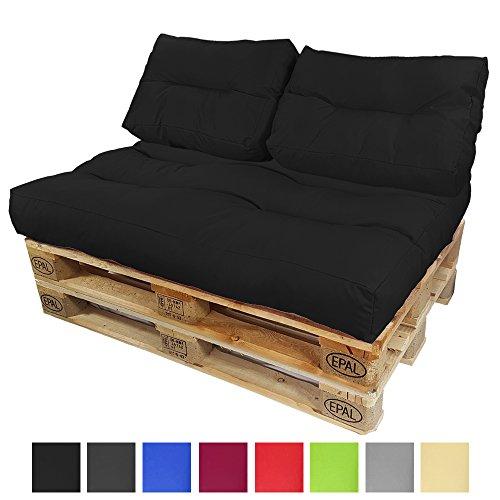 DILUMA Coussins pour Canape Euro Palette Lounge - Créez Un élégant Sofa en Palette résistante aux éclaboussures (Pas Un Ensemble!), Couleur:Noir, Variable:2 Coussins de Dossier 60 x 40 cm