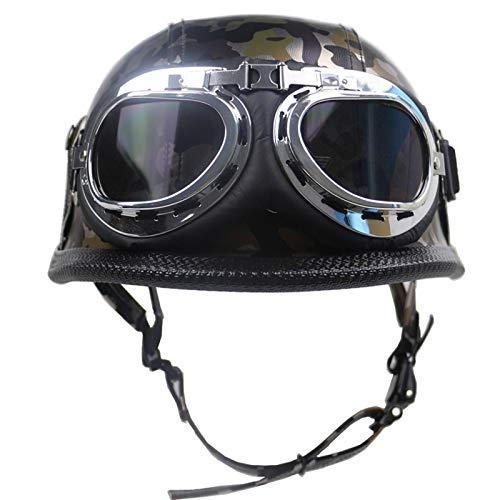 ZLYJ Camuflaje Casco Moto, Retro Cascos Motocicleta Media Abierto Helmet con Gafas de Piloto, Casco Abierto Protección para Scooter Bicicleta para Hombre Mujer, Homologado ECE A,XL