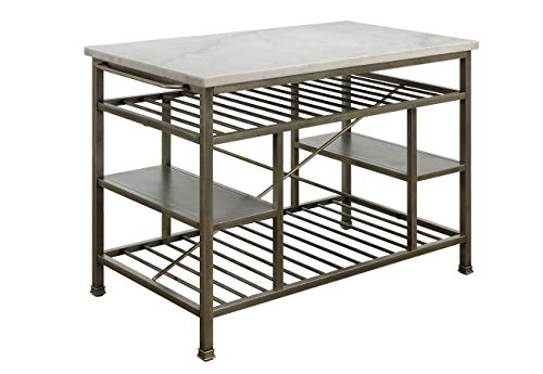 ACME Furniture Lanzo Kitchen Island, Marble and Antique Pewter