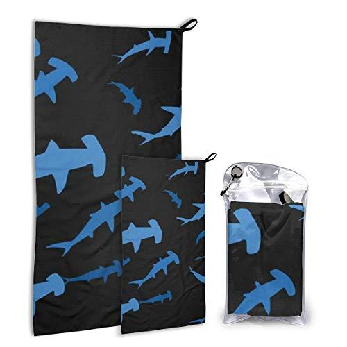 Lawenp Juego de Toallas de Viaje de Microfibra Hammerhead Sharks, Paquete de 2 Grandes (37,5 x 55 Pulgadas, 16 x 32 Pulgadas) para Deportes, Caza, Playa T