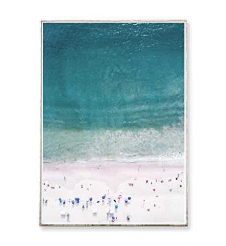 DIN A4 Kunstdruck Poster PINK BEACH -ungerahmt- Strand, Ozean, Luftaufnahme, Küste, Meer