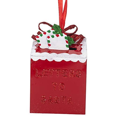 Kurt Adler D3862 Letters to Santa Mailbox Ornament, 4-inch High, Metal and Plastic