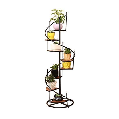 ML Soporte de Planta de Soporte de Flor de Piso de Madera Maciza de Hierro Forjado, Soporte de exhibición de Planta Tipo Escalera de Caracol Europeo, Estante de Almacenamiento Multifuncional