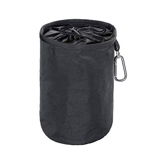 YuamMei strapazierfähige und wasserdichte Wäscheklammer-Tasche, hängende Wäscheleine-Peg-Tasche mit D-Haken für den Innenbereich im Freien (Schwarz)