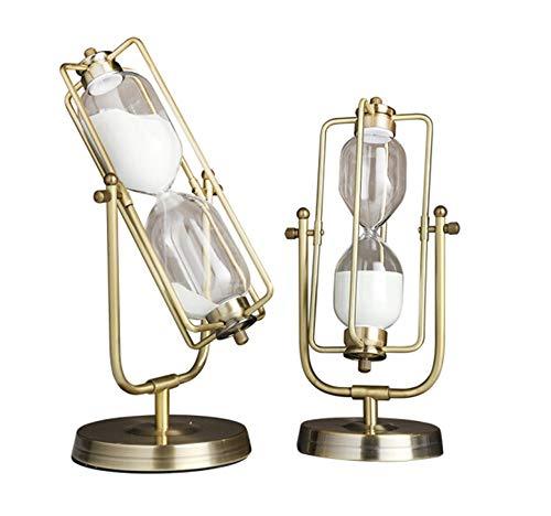 H-ei Mode rétro Rotatif en métal sablier Ornements symbolise Beau Cadeau Souvenir Chambre Salon Simple Moderne Record Temps décorations (Size : Both(2))