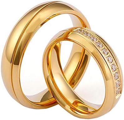 HIJONES Femmes des Hommes pour Toujours la s/érie Amour en Acier Inoxydable Plaqu/é Or 18k Wedding Bands pour Couples