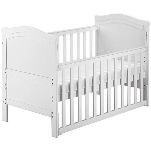 QINREN Solid Wood Baby Cot Bed Toddler Bed with Foam Mattress Converts into a Junior Bed Single-Handed Dropside Mechanism 3 Adjustable Position(White)