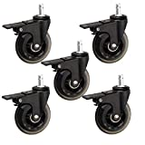 LKLXJ Swivel Rubber Caster Wheels, Office Chair Wheels with Brake, Transparent Casters, M12X20mm, Wear and Scratch Resistance, Double Bearings, Polyurethane Wheels Black
