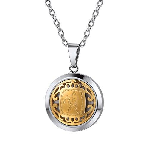 PROSTEEL Halskette Sternzeichen Waage Sternbilder Anhänger Edelstahl zweifarbig Horoskop Tierkreis Astrologie 18k vergoldet Modeschmuck für Männer Frauen