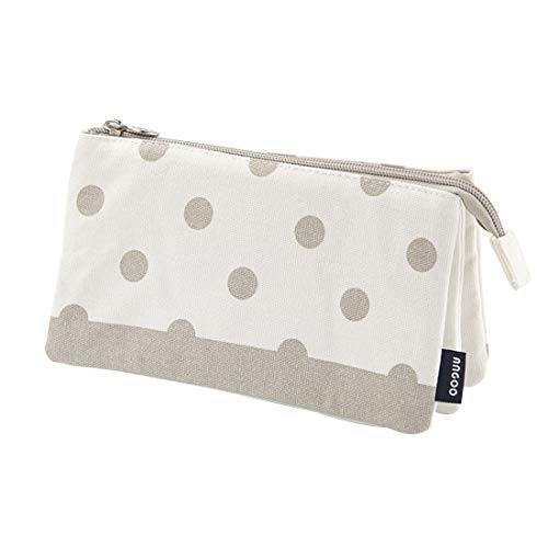 iSuperb 3 Layers Pencil Case Dual Zipper Stationery Pouch Organizer Canvas & Nylon Cosmetic Makeup Handbag for Girls Women (Gray Dots)