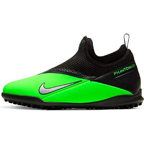 Nike Jr. Phantom Vision 2 Academy DF TF Youth Turf Soccer Shoes (Numeric_2) Green/Black