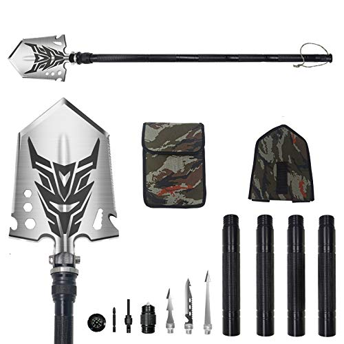 Multifunction Survival Shovel467 inch Camping Shovel Lengthened Enlarged Thicker Military Folding Shovel with Storage Pouch for CampingHikingBackpackingFishingOffRoadingOutdoorEmergency
