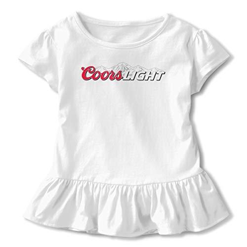 Coors Light Children's Graphic Short Sleeve Ruffled Dresses Shirts 5/6T White