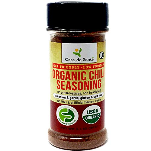 Organic Low FODMAP Certified Paleo Seasoning (Chili)|No Onion No Garlic, Gluten Free, No Salt, No Carb, Keto, Whole30, Kosher, All Natural, No GMO, Non Irradiated, Popcorn Seasoning- Casa de Sante