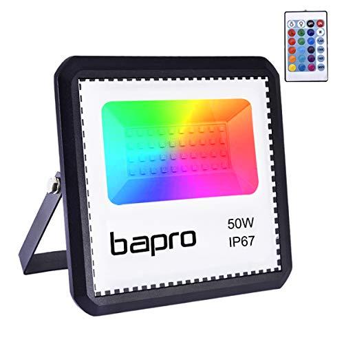 RGB 50W LED Strahler mit Fernbedienung,IP67 Wasserdicht LED Außenstrahler LED Flutlicht 16 Farben 4 Modi LED Fluter Stimmungslichter ,halloween projektor, Strahler Farbe Dekorative