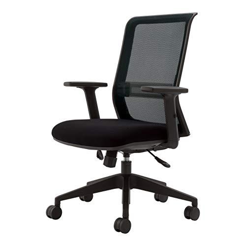 コクヨ エントリー 椅子 ブラック メッシュタイプ デスクチェア 事務椅子 コクヨリーズナブルシリーズ CR-BK9000BKD-W + 可動肘セット ( ブラック )