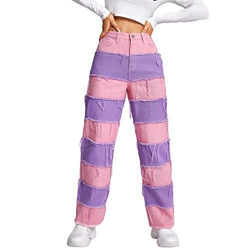 Pantalones vaqueros de patchwork para mujer, pantalones casuales de cintura alta estilo Y2k