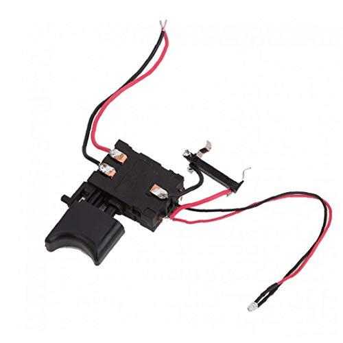 Homiki Control de Velocidad Interruptor eléctrico Taladro 12V FA2-16 / 1WEK batería de Litio sin Cable Interruptor de perforación para Taladro eléctrico Suministros Industriales Negro