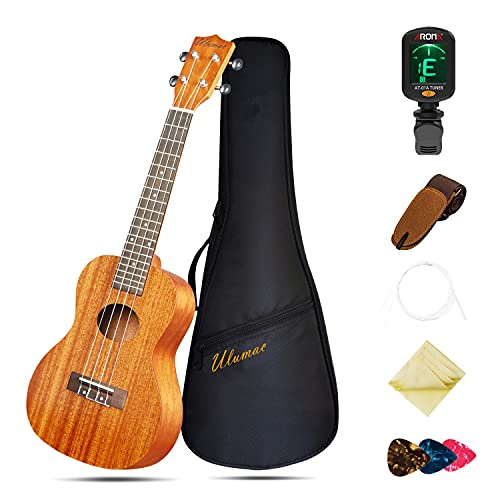 Ukulele Concert 23 inch Professional Mahogany Solid Top Ukelale for Beginners, Kids & Adults, All in One Bundle with Gig Bag, Digital Tuner without Battery, Replacing Strings, Picks, Strap, Cloth