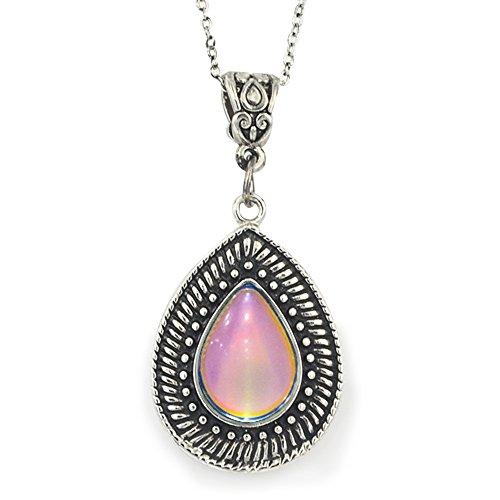 "Fun Jewels Vintage Multi Color Change Teardrop Stone Pendant Mood Necklace 18"" Chain+2"" Extender"