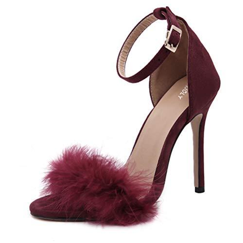 MMJULY Women's Open Toe Ankle Strap Fluffy Feather Stiletto High Heel Dress Sandal Burgundy US 10