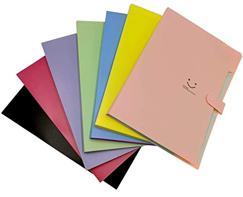 7-Pack Expanding Plastic File Folders Accordion Document Organizer Office School File Filing Bags Smile Letter A4 Paper Size with 5 Pockets & Snap Closure, Multi-Colors
