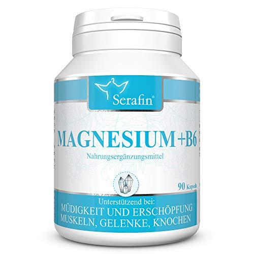 Serafin Magnesium + B6 Naturkapseln – 90 Kapseln – Vitamin B6, Magnesium – Müdigkeit, Schlaf, Muskelkater, Erschöpfung, Muskeln, Gelenke, Knochen