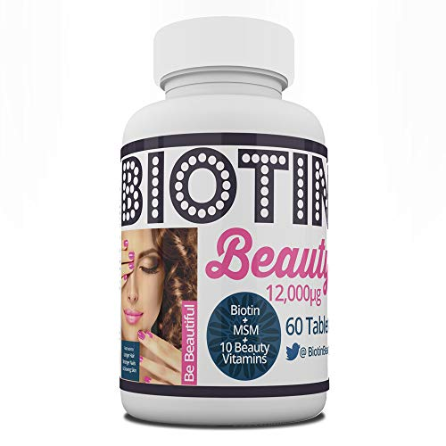 Biotin Beauty -12,000mcg Biotin Boosted with MSM and 10 Vitamins - World's Strongest Biotin Supplement. Maximum Strength for Hair Growth, Radiant Skin & Strong Nails. 60 Tablets
