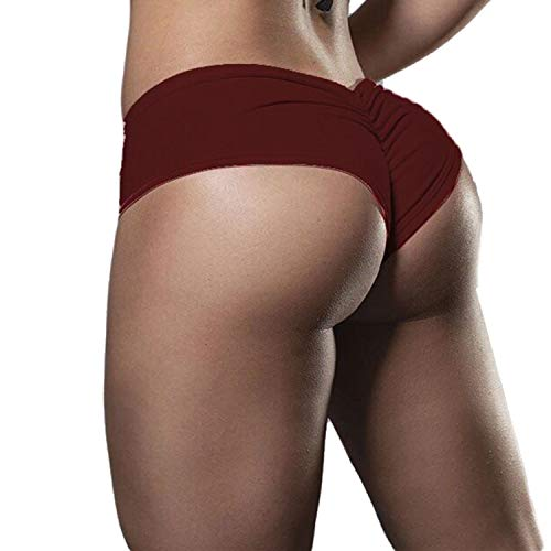 wetry Damen Sexy Shorts Hotpants Latzhose Einfarbig Butt Lifter Push Up Kurze Leggings Rotwein/S