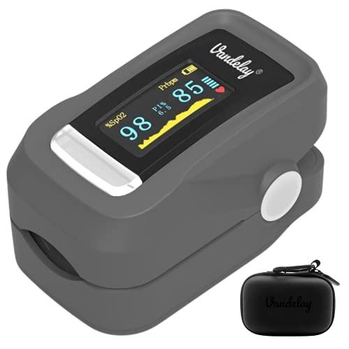 Vandelay Pulse Oximeter Fingertip C101H1 - Blood Oxygen Meter SpO2 & Pulse Monitor - FDA, CE- Professional Series (Grey)