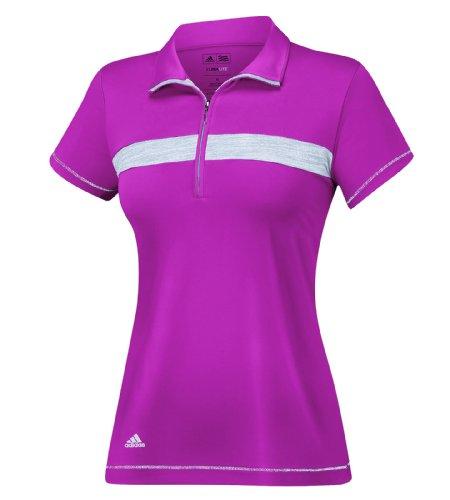 adidas Golf Women's Golf Puremotion Textured Print Zip Polo Shirt, Bahia Magenta/Black/Light Onix Melange, Small