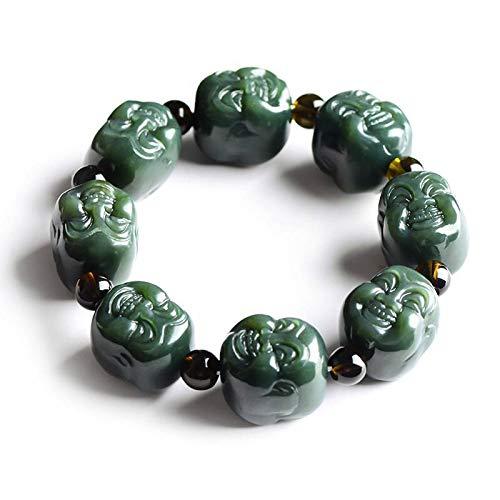 Yigedan - Pulsera para hombre con cabeza de Buda tallada de jade verde natural de doble cara