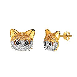 Sterling Silver Gold Cat Head Stud With Rhinestone