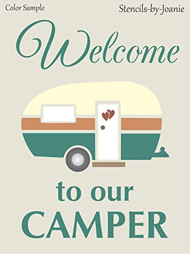"""Joanie 9""""x12"""" Stencil Welcome Camper RV Vintage Heart Love Family Cabin Campground DIY Signs"""