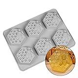 TA Best Moldes de jabón con forma de panal, 3D hexagonal, molde de silicona...