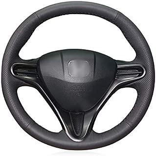 XUJI Black Genuine Leather Car Steering Wheel Cover for Honda Civic Civic 8 2006-2011 (3-Spoke) (Black)