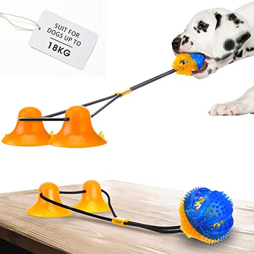 CHARMINER Suction Cup Dog Toy, Dog Rope Ball Pull Toy with Double...