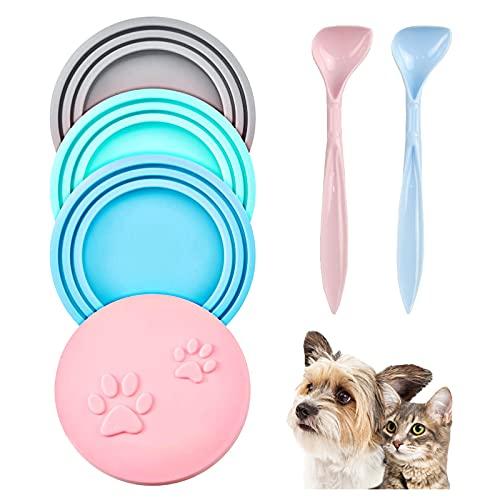 Alviller Tierfutter-Dosendeckel, 4 Stück Universal Silikon Dosendeckel für Haustiere, Auslaufsichere Dosendeckel mit 2 L?ffeln für Fast Alle Futterdosen