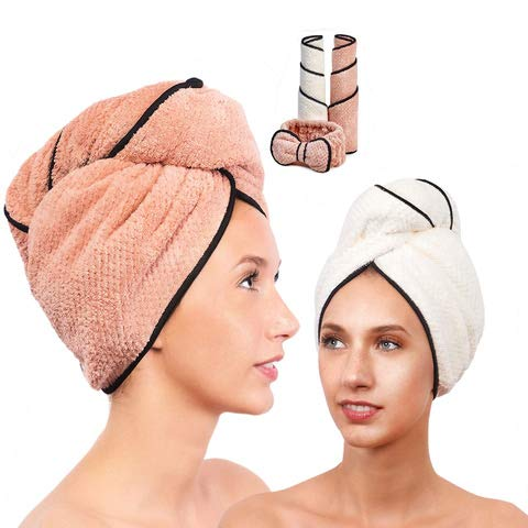 Microfiber Hair Towel for Women - Drying Twist Wrap for Curly, Long, Thin or Short Hair - Ultra Absorbent Anti Frizz Turban for Sleeping and Showering - 2 Pack plus Soft Headband - (Ivory/Pink)