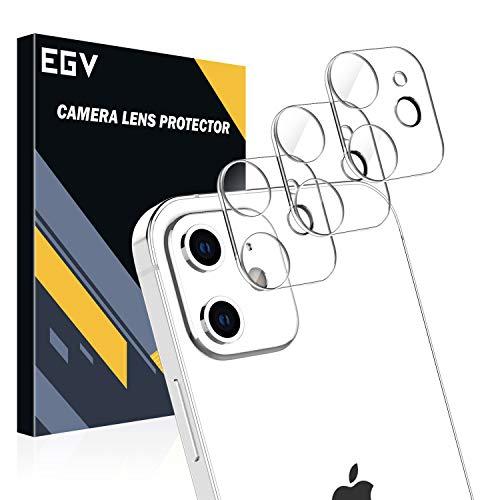 EGV [3 Pack Lente de cámara para iPhone 12 (6.1') Protector Cámara, [Protección Integral] [No afecta el Uso de la cámara] Cristal Vidrio Templado para iPhone 12 (6.1')