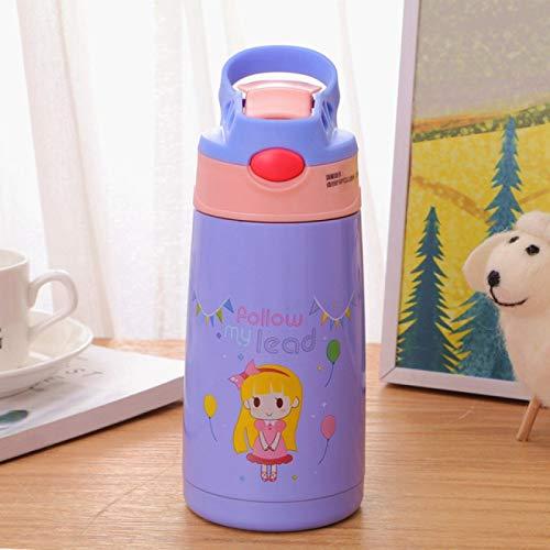 NYSJLONG Botella de Agua para niños 400Ml Taza Termo de Acero Inoxidable para niños con Paja Frasco de vacío a Prueba de Fugas de Dibujos Animados Botella térmica para niños Thermocup