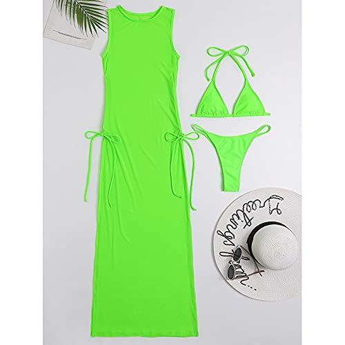 Traje de baño Conjunto De 3 Piezas Negro Traje De Baño De Cuello Alto Traje De Baño Femenino Encubrimientos para Mujer Faldas Bikini Traje De Baño Triangular Halter M Verde