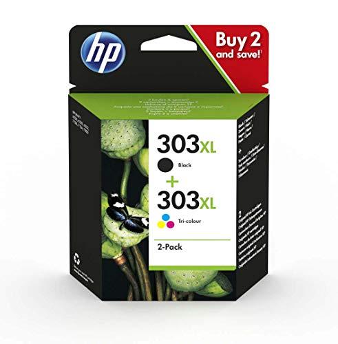 HP 303XL ComboPack 3YN10AE Cartucce Originali ad Alta Capacità da 1015 Pagine in Totale, Compatibile per Stampanti a Getto di Inchiostro HP Tango, HP ENVY serie 6200, 7100 e 7800, Nero e Tricromia