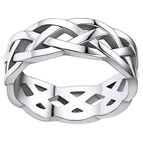 FaithHeart Eternity Rings for Men, Stainless Steel Celtic Knot Wedding Band Ring Finger Charms Jewelry Gift for Husband