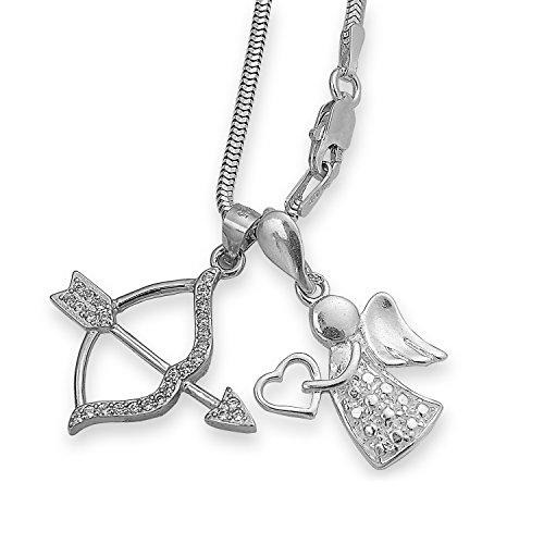 Silber Schlangenkette mit zwei Anhängern Zirkonia Schutzengel Herz Pfeil Bogen Amor Liebesengel Flügel Engel-schmuck Set #1375