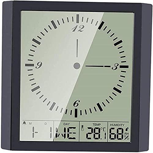 JWCN Reloj de Pared Digital Reloj de Alarma electrónico para Dormitorio Decoración para el hogar Gran Pantalla LCD con Tiempo/Calendario/Temperatura/Pantalla higrómetro Uptodate