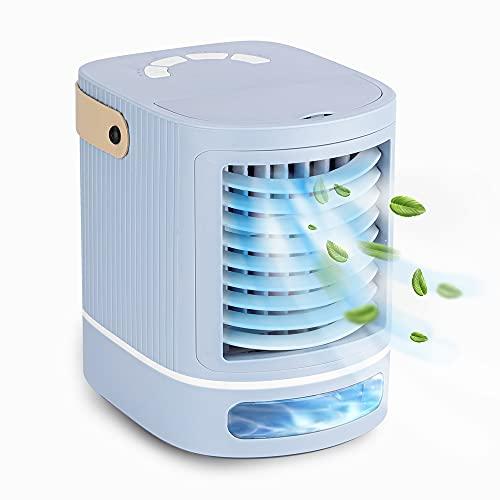 Brihome, mini condizionatore d'aria portatile, ventola di raffreddamento da tavolo, carica USB con 3 velocità della ventola, 6 luci a LED, aria condizionata mobile per casa, ufficio, blu