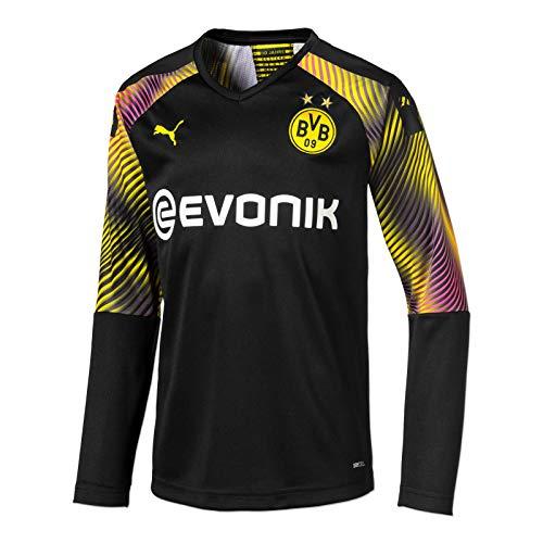 PUMA Jungen BVB LS GK Shirt Replica Jr with Evonik without OPEL Torwarttrikot, Schwarz, 128